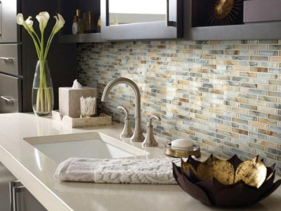 Tile backsplash at Flooring Solutions in Norfolk, Nebraska